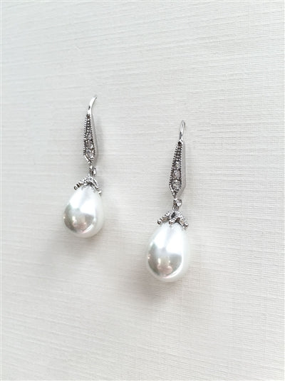 Antique Design Pearl Dangle Bridal Earrings 2
