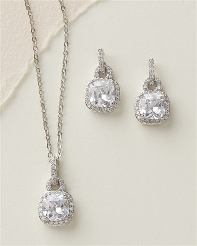 Catalina Cushion Cut CZ Necklace Earring Jewellery Set 2