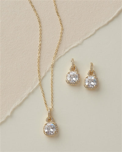 Catalina Cushion Cut CZ Necklace Earring Jewellery Set 3