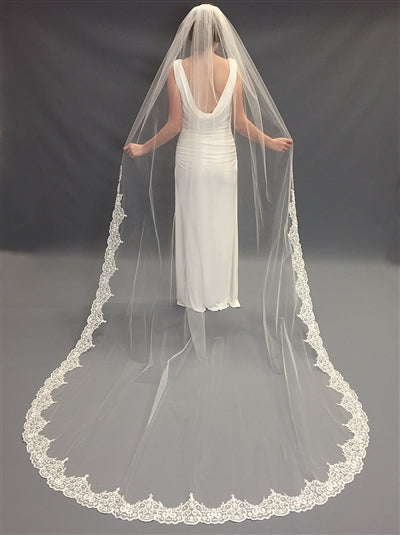 Claudia Ivory Beaded Lace Cathedral Bridal Veil
