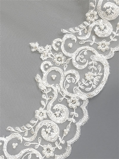 Claudia Ivory Beaded Lace Cathedral Bridal Veil2