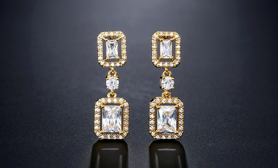 Erica Emerald Cut Drop Earrings