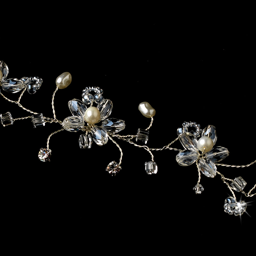 Crystal Pearl Bridal Flower Hair Vine Headband2