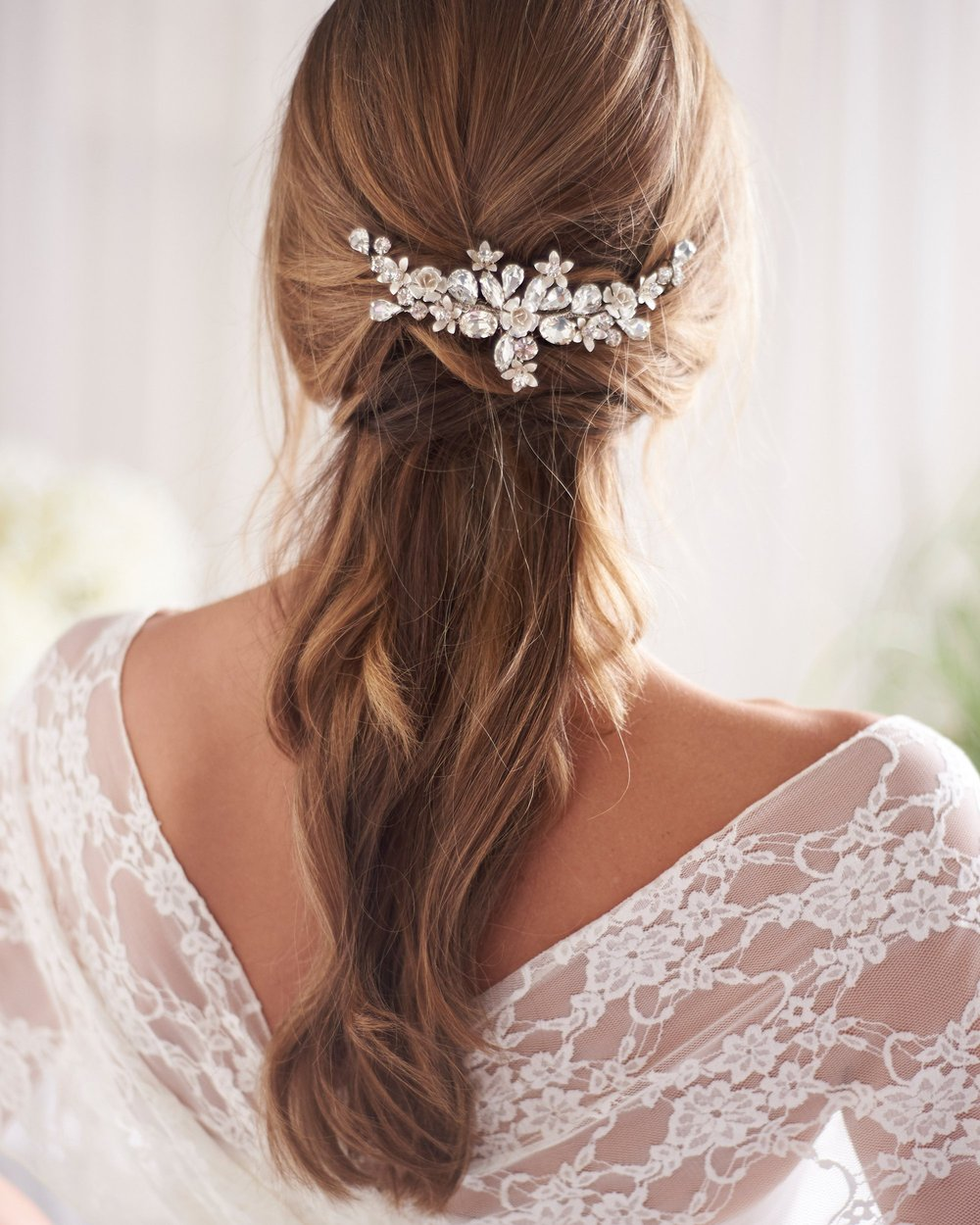 Hadley Floral Bridal Backcomb