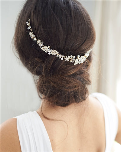 Keeva Floral Ribbon Wedding Headband 3