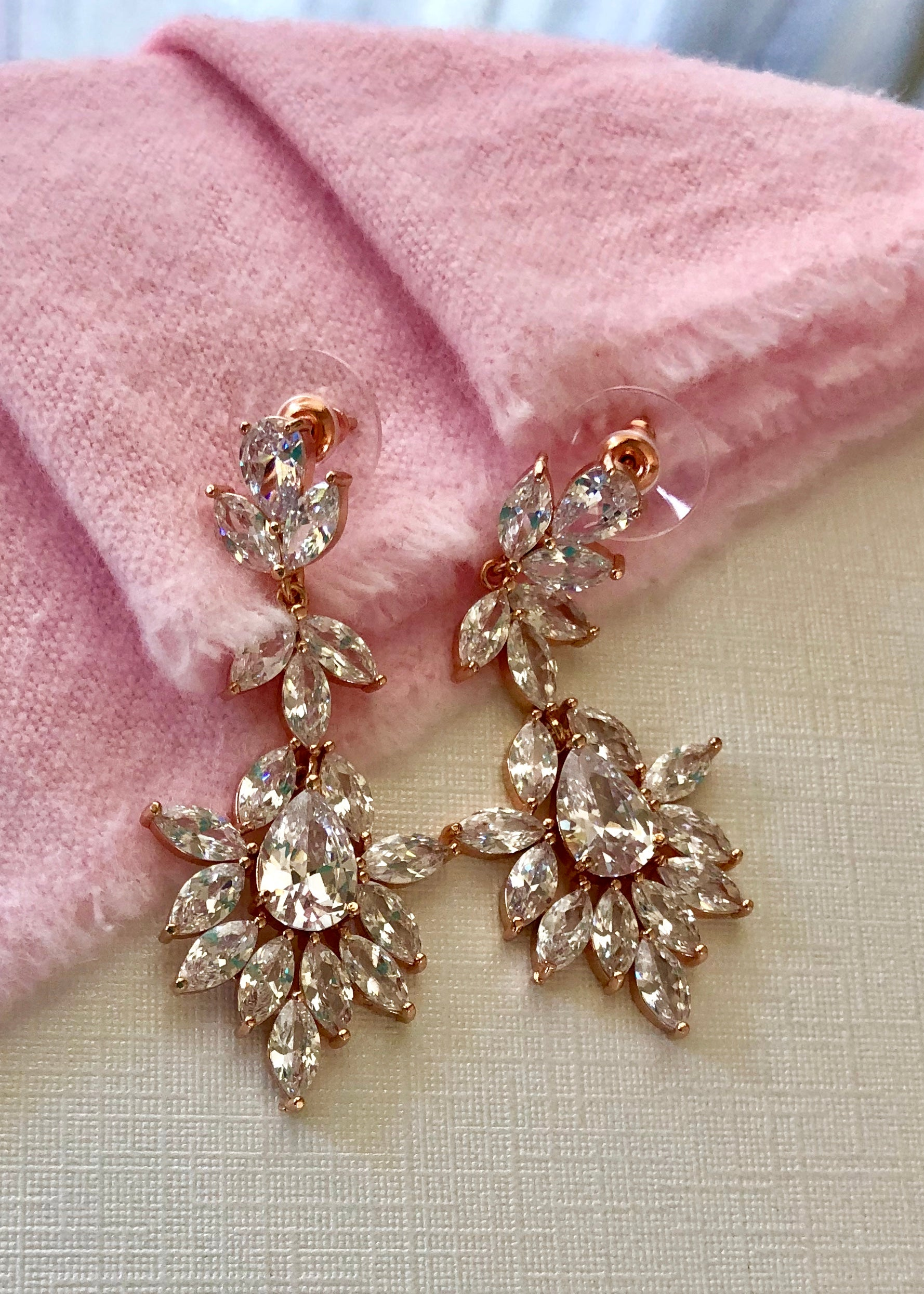 Lanie CZ Drop Bridal Earrings