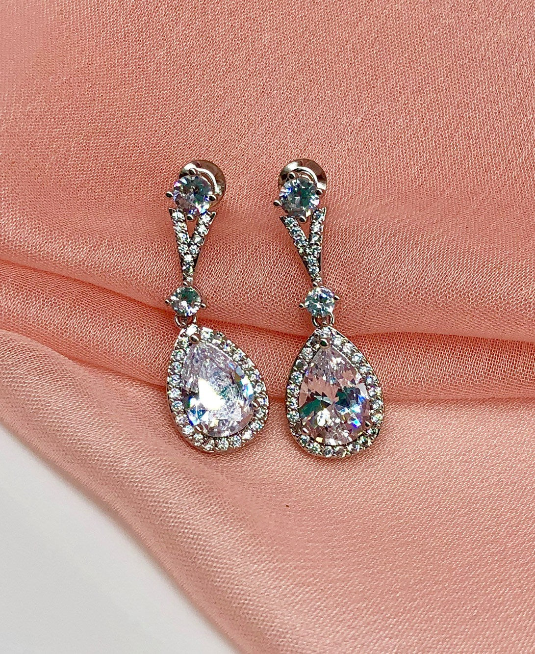 Lola CZ Wedding Drop Earrings