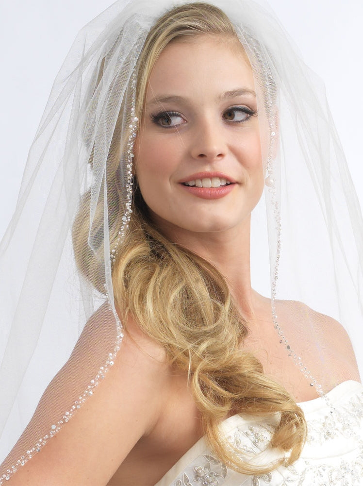 Mariah Pearl Crystal Beaded Bridal Veil