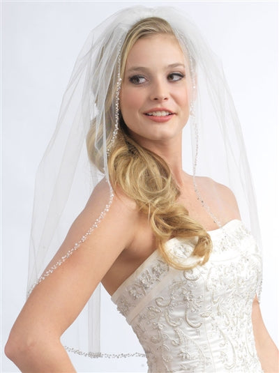 Mariah Pearl Crystal Beaded Bridal Veil3