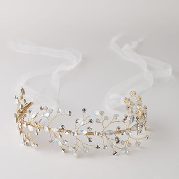 Rhinestone Opal Hair Vine with Ivory Ribbon 2