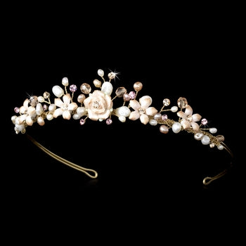 Pink Porcelain Bridal Tiara Headpiece