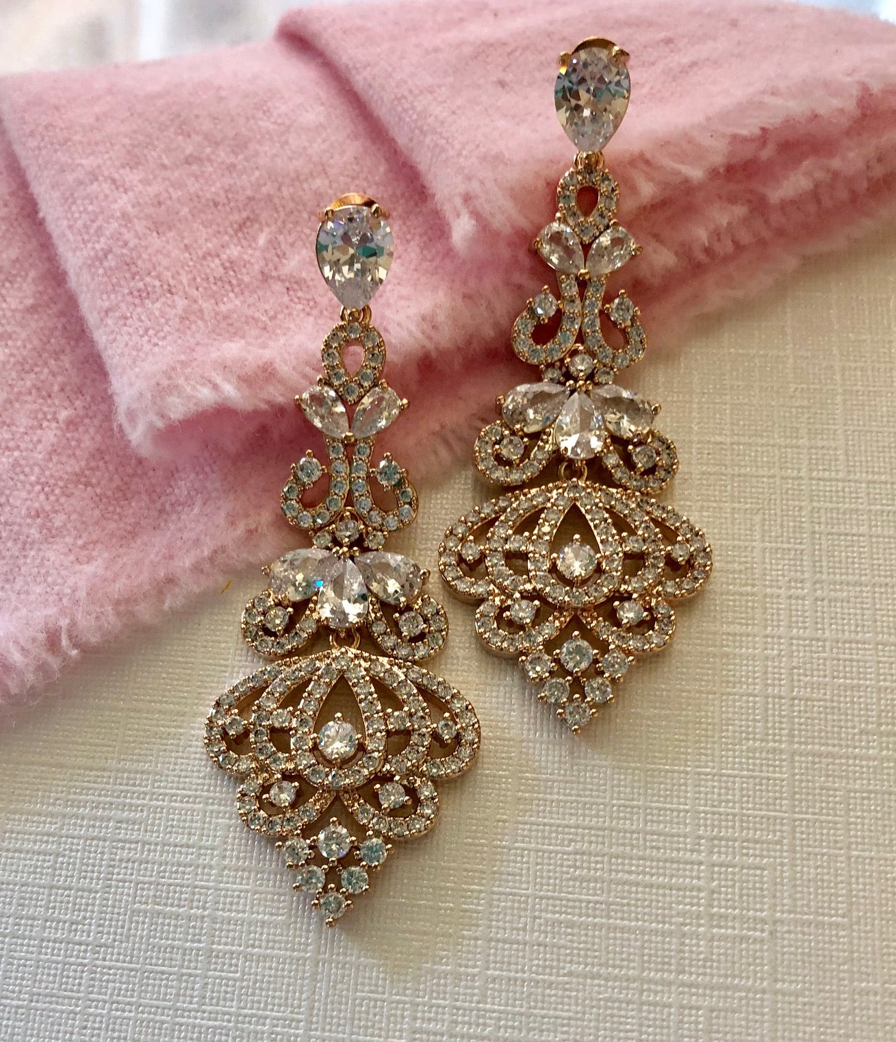 Victorian Scroll CZ Chandelier Bridal Earrings