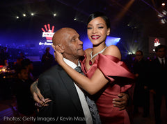Rihanna and her grandfather at the Diamond Ball!