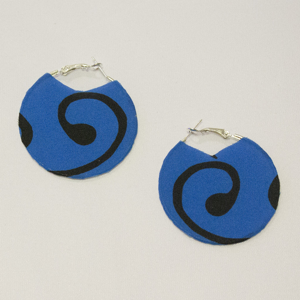 Blue and Black Print Silk Hoop Earrings