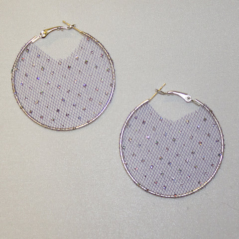 Crystal Web Fabric Hoop Earrings
