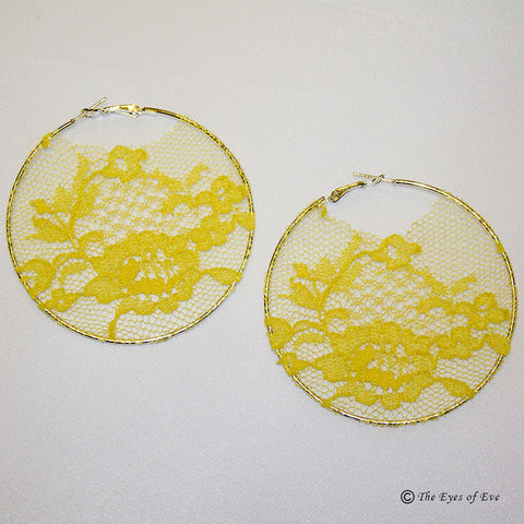 Fall Yellow Lace Hoop Earrings