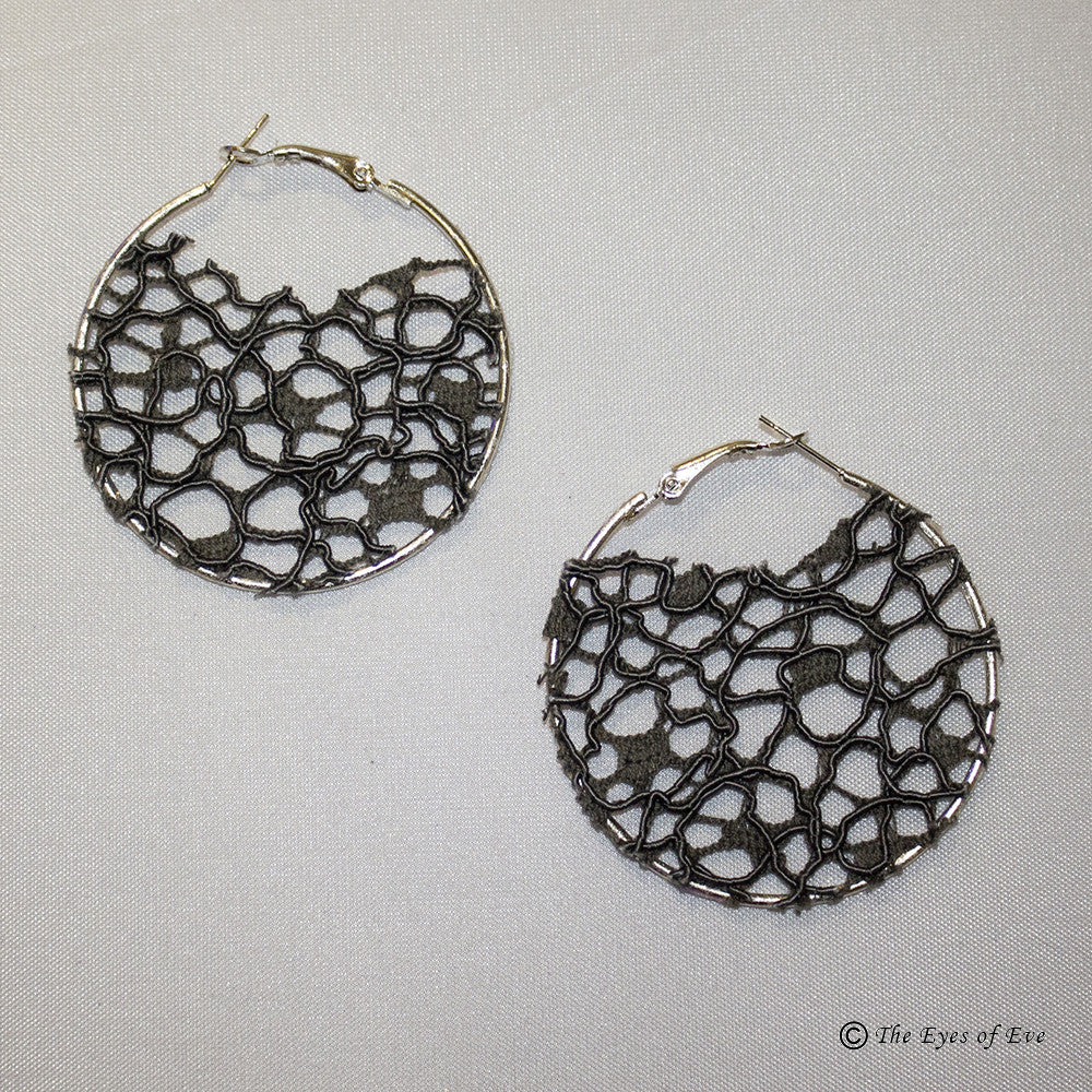 Grey Mesh Hoop Earrings
