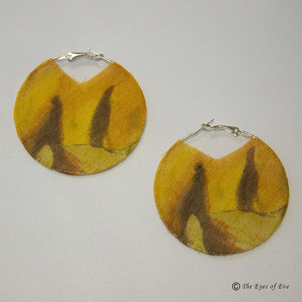 Mixed Yellow Silk Hoop Earrings