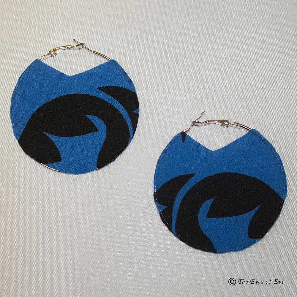 Blue and Black Print Silk Hoop Earrings 6