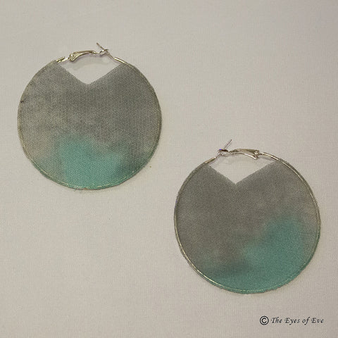 Blue and Grey Silk Hoop Earrings