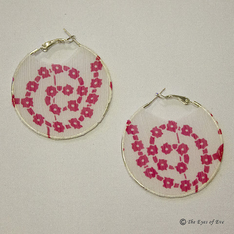 Pink Mandala Silk Hoop Earrings 3