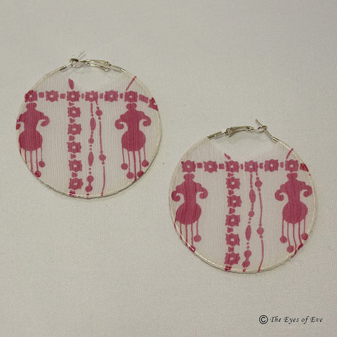 Pink Mandala Silk Hoop Earrings 2