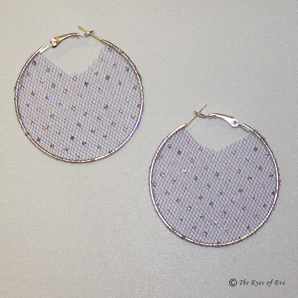 Purple Organza Hoop Earrings with Metallic Detail