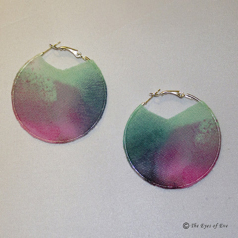 Green and Pink Silk Hoop Earrings