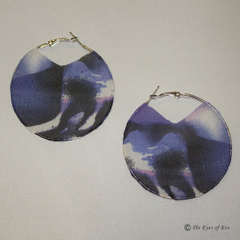 Purple and White Silk Hoop Earrings