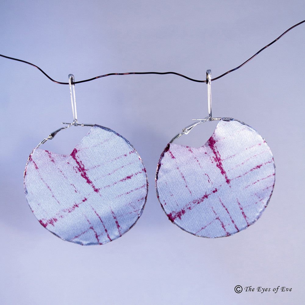 Metallic Lavender Silk Hoop Earrings
