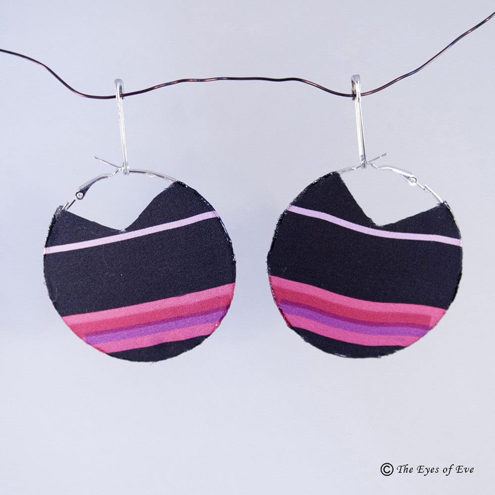 Pink and Black Stripe Hoop Earrings