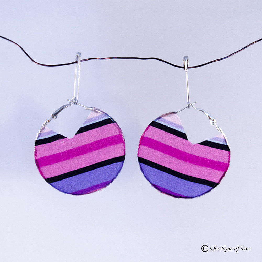 Pink and Purple Stripe Hoop Earrings