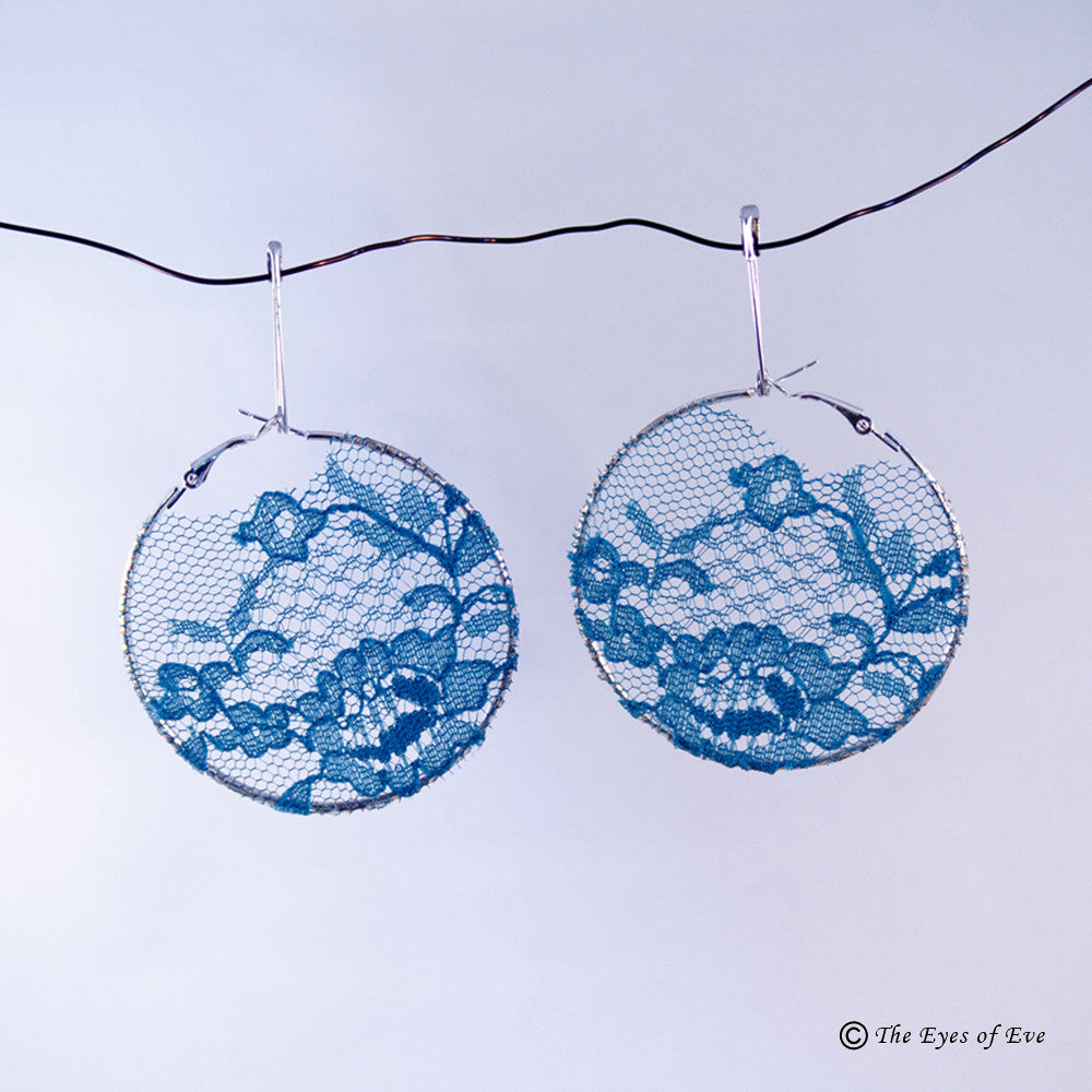 Fall Blue Lace Hoop Earrings