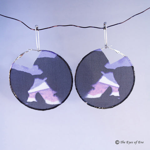 Purple and Black Silk Hoop Earrings