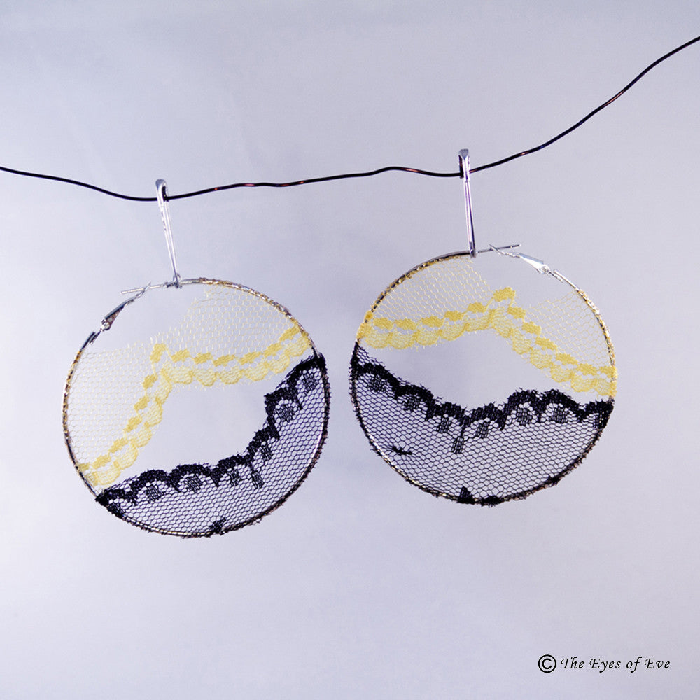 Black and Yellow Lace Hoop Earrings