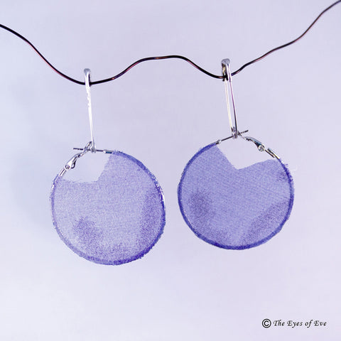 Purple Silk Hoop Earrings