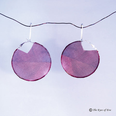 Purple and Pink Silk Hoop Earrings