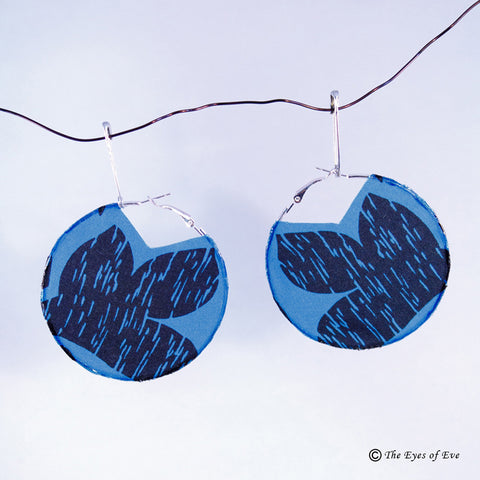 Blue and Black Print Silk Hoop Earrings 3
