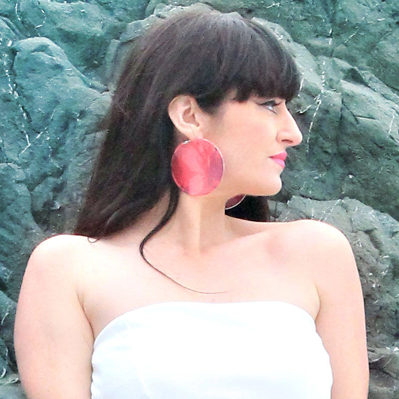 Pink Floral Silk on Silver Hoop Earrings