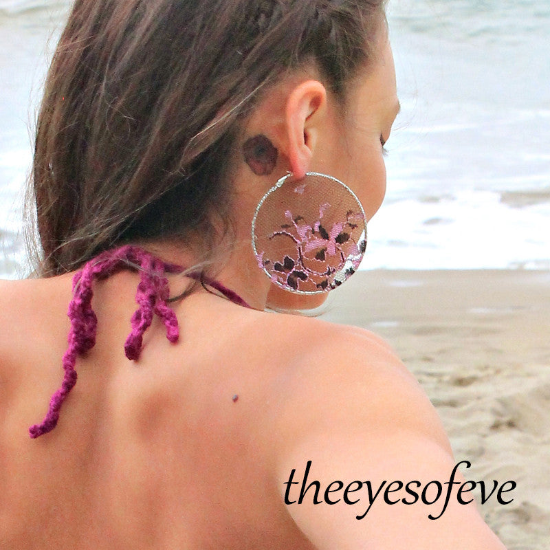 Black Lace Hoop Earrings with Pink Detail