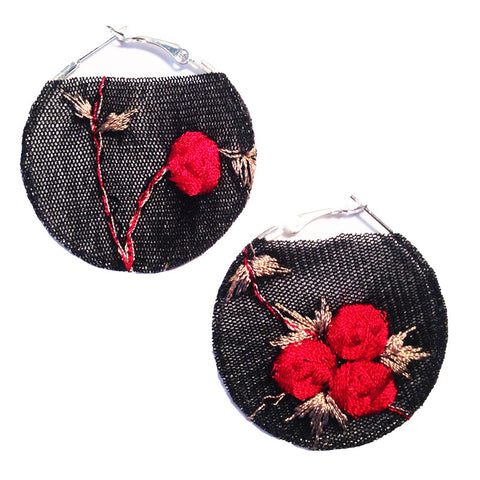Black and Red Rose Fabric Hoop Earrings