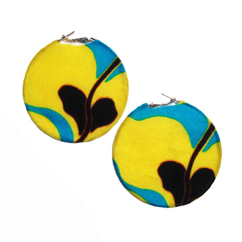 Blue and Yellow Floral Silk Hoop Earrings