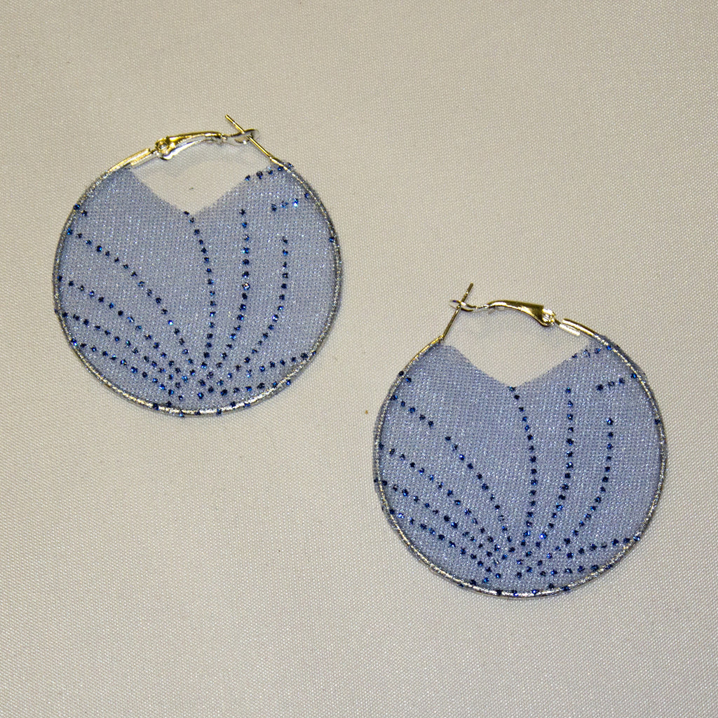 Blue Fireworks Fabric Hoop Earrings