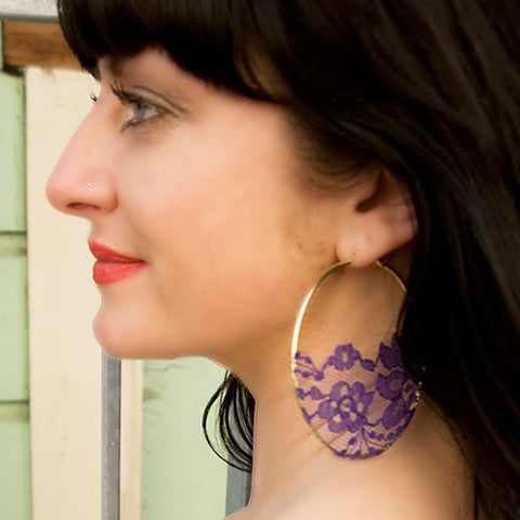 Purple Half Lace on Silver Colored Hoop Earrings
