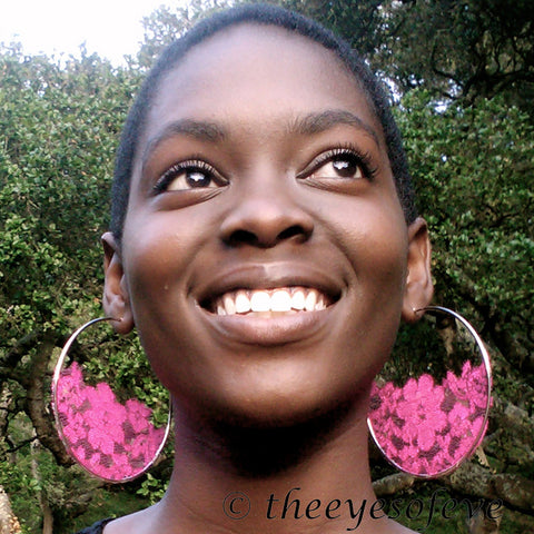 Hot Pink Floral Lace Hoop Earrings