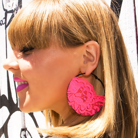 Neon Pink Lace Earrings with Black Hoop