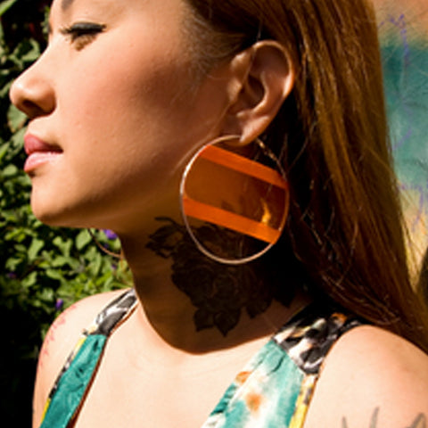 Iridescent Orange Fabric Hoop Earrings