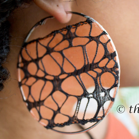 Webbed Orange and Black on Silver Hoop Earrings