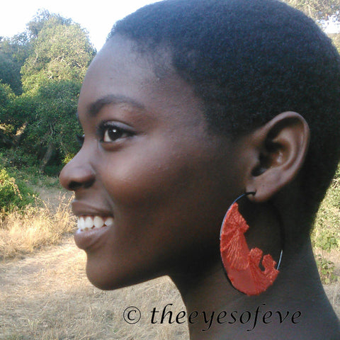Orange Lace on Black Hoop Earrings