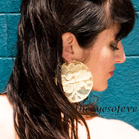 Yellow Lace on Silver Colored Hoop Earrings